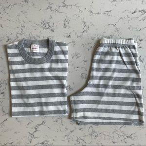 Hanna Andersson Gray Striped Short Sleeve PJ set